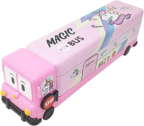 QIPS Multi Layer Cartoon Printed School Bus Matal Pencil Box with Moving Tyres and Sharpner for Kids Pink