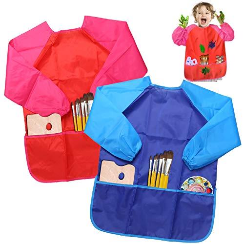 BELLESTYLE Delantales de Niños, 2 Pack Delantal para Cocina y la Pintura para 3-6 Años Niños (Azul and Rojo) (Blue and Red)