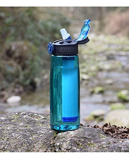 caomei 650ml tragbare Wasserflasche Bobble Wasserfilter Camping Wandern Reise Filterung Wasser gesunde Trinkflasche mit Kompass a