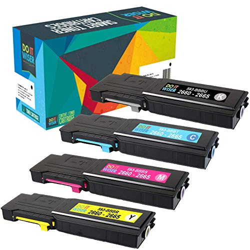 Do it Wiser Compatible High Yield Toner for Dell C2660 C2660dn C2665dnf - 593-BBBU 593-BBBT 593-BBBS 593-BBBR - 4 Pack