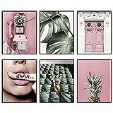 Modern Minimalist Pink Women Lips Pineapple...