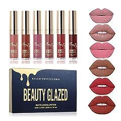 Idea Regalo - Beauty Glazed - set di rossetti liquidi opachi, gamma di colori da rosso chiaro a rosso scuro, waterproof, a lunga durata, non macchiano, pigmenti intensi, cruelty free, vegani