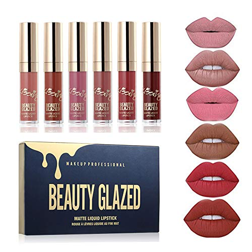 BEAUTY GLAZED 6 Couleur Set Rouge à Lèvres Liquide Mat Longu