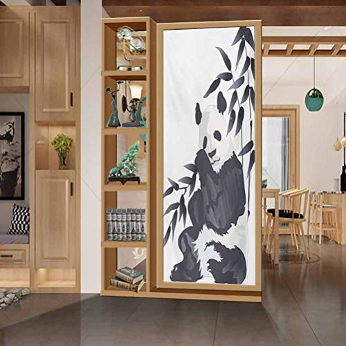 wonderr Privacy Home Decor Decorative Stained Glass Window Film, Panda Giant Panda Bear Sitting in Zoo Traditional Chinese Pa, Living Room Bedroom Kitchen Lobby Porch Office, W23.6xH35.4 Inch