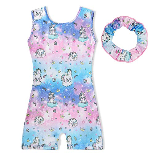 Sylfairy Leotards for Toddler Girls Kids Ballet Leotard Unicorn Sparkly One-Piece Biketard With Shorts Practice Dance Unitards Athletic Outfits Costume Matching Hair Scrunchie(Pink/Galaxy,4-5years)