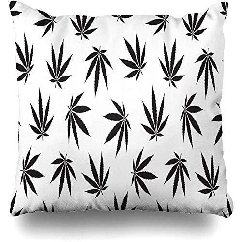 Fodera per cuscino di tiro Grafica verde Motivo marijuana Cannabis Erbaccia Droga foglia Salute Ganja Dipendenza bianca Custodia per cuscino Bong Home Decor Design Dimensioni quadrate 45x45cm (18In) Federa