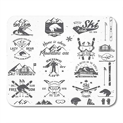 AOHOT Mauspads Vintage Ski Club Retro Badge for Seal Stamp Stock Family Vacation Activity Travel Snowboard Mouse pad Mats 9.5
