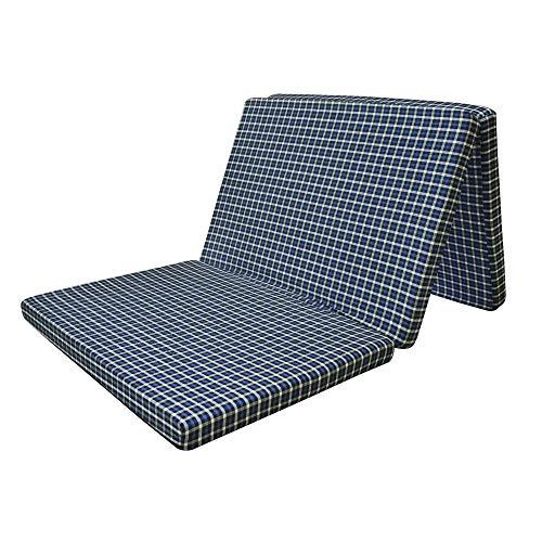 MOROFEEL 2 Inch Dual Comfort Reversible Foldable EPE Foam Single Bed Mattress 3 Fold Navy Blue