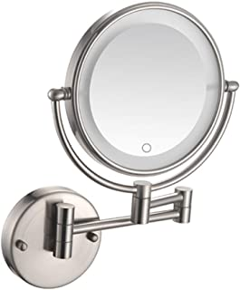 LED Lighted Makeup Mirror, Wall Mount Vanity Mirror 3X Magnifying Two-Sided Bathroom Mirror Extendable Cosmetic Mirror Shaving in Bedroom or Bathroom Powered by Plug,Nickel Wire Drawing