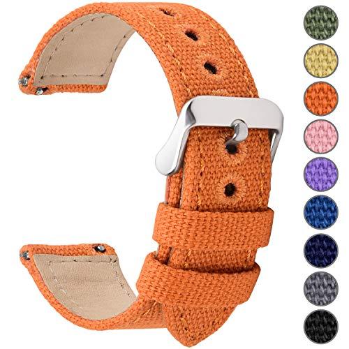 Fullmosa Uhrenarmband 18mm in 8 Farben, Stoff Leinen mit Mattleder Uhrenarmband Uhr Ersatzband mit Schnellverschluss für Mann&Damen,Kürbis-Orange 18mm