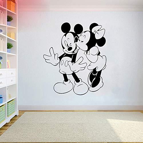 stickers muraux 3d Sticker Mickey Mouse Mickey et Minnie Mouse Embrasser Stickers Muraux Dessin Animé Pvc Autocollant Mur De Chambre Des Enfants