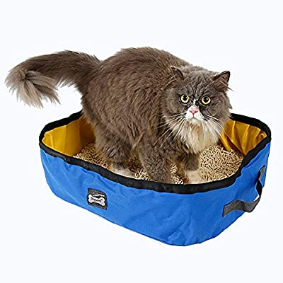 Cat Litter Box - Portable & Foldable Cat Litter Tray for Outdoor Travel - Waterproof Oxford Fabric, 18.1 * 13.7 * 5.5inch (Blue)