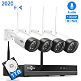 【8Channel,Audio】 Hiseeu Wireless Security Camera System,4Pcs 1080P Cameras 8Channel NVR,Mobile&PC Remote,Outdoor IP66 Waterproof,Night Vision,Motion Alert,Plug&Play, 24/7/Motion Record,1TB HDD
