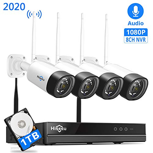 【8Channel,Audio】 Hiseeu Wireless Security Camera System,8Channel NVR 4Pcs 1080P Cameras,Mobile&PC Remote,Outdoor IP66 Waterproof,Night Vision,Motion Alram,Plug&Play, 24/7 Recording,1TB HDD