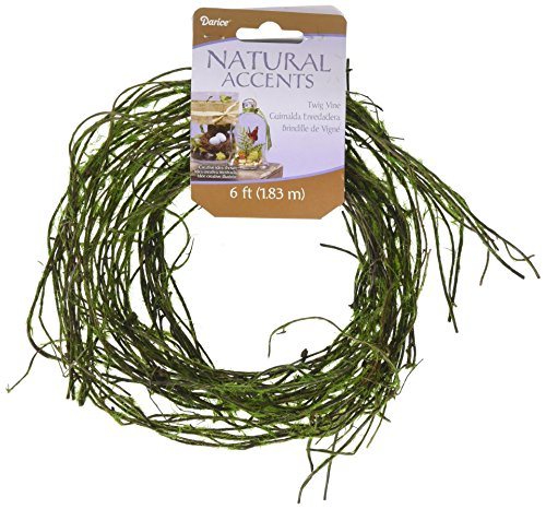 Darice 14444B Floral Garland Twig Vine Flocked Moss, 72', Green