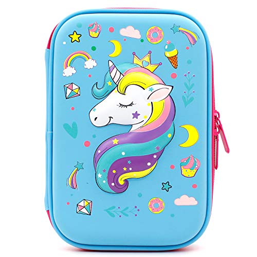 Crown Unicorn Gifts for Girls - Cute Big Size Hardtop Pencil Case with Compartment - Kids School Supply Organizer Stationery Box Zipper Pouch (Light Blue)