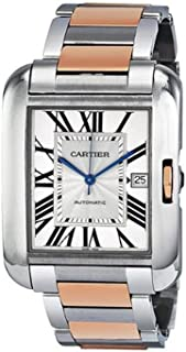 Tank Anglaise XL Automatic Silver Dial 18 kt Rose Gold and Steel Mens Watch W5310006