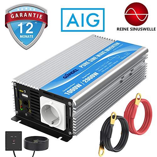 GIANDEL 1000W Spannungswandler 12v auf 230v Reiner Sinus Wechselrichter mit Fernbedienung mit Dual-AC-Ausgängen & 2.4A USB-Anschluss für Wohnmobil-LKW