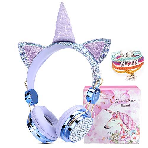 Einhorn Kinderkopfhörer Kabellos, Bluetooth Mädchen Kopfhörer, Kopfhörer Over-Ear mit 85dB Lautstärke Begrenzung, Cat Ear Kopfhörer Headsets für Kinder mit Mikrofon, Einhorn Geschenke