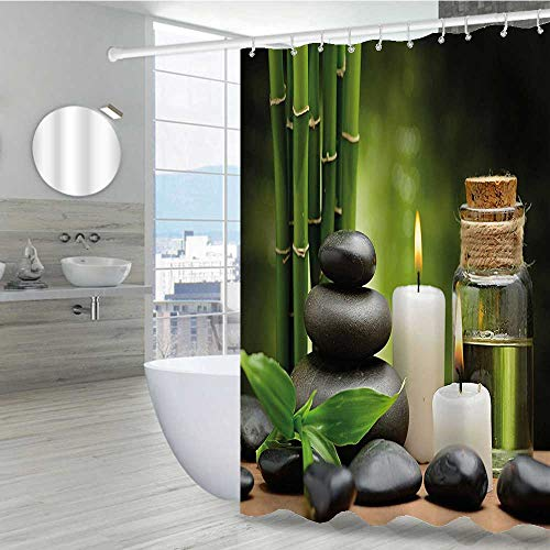 Interestlee Spa Decor Shower Curtain Set 72' W x 72' L, Hot Massage Rocks Combined with Candles and Scents Landscape of Bamboo Durable Solid Bathroom Curtain, Green White and Black