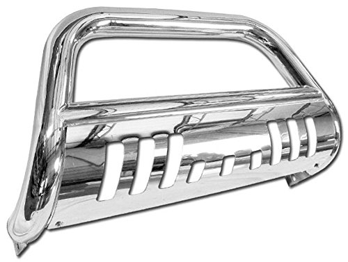 VXMOTOR for 05-07 Jeep Grand Cherokee ; for 06-10 Commander - Stainless Steel Bull Bar Brush Push Front Bumper Grill Grille Guard with Skid Plate Polished