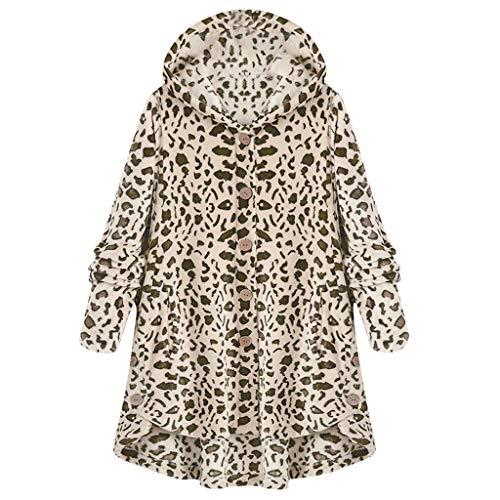 iHENGH Damen Herbst Winter Bequem Mantel Lässig Mode Jacke Frauen Knopf Leopard Mantel Flauschige Schwanz Tops mit Kapuze Lose(Kaffee, 3XL)