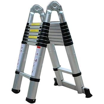 Escalera Plegable Telescópica 5M Plataforma de Escalera Plegable Portátil de Aluminio Escalera Loft Escalera Extensible: Amazon.es: Bricolaje y herramientas
