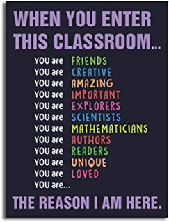 Unframed Classroom Art Print Classroom Rules Colorful Lettering Painting, Set of 1(12