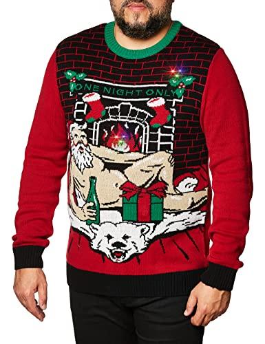 다색의 레드 플래싱 라이트를 장착한 못생긴 크리스마스 스웨터 회사 남성의 다양한 조명 크리스마스 크루 넥 스웨터