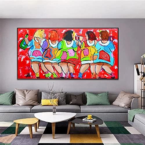 CAPTIVATE HEART Pintura de Arte en Lienzo 30x50cm sin Marco Beber Mujeres Coloridas Pinturas al óleo abstractas Arte Cuadros de Arte Moderno para Sala de Estar