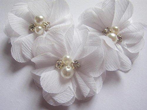 YYCRAFT 20 Stück Chiffon Blumen mit Strass und Perlen Hochzeit Dekoration/Haar Accessoire Handwerk/Nähen Craft(Weiß,5cm)