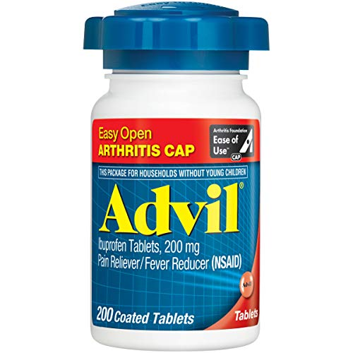 Advil Coated Tablets Pain Reliever and Fever Reducer, Ibuprofen 200mg, 200 Count, Easy Open...