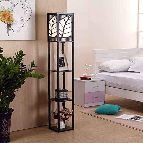 GUONING-L Moderno Estilo chino moderno minimalista piso de madera dormitorio de noche lámpara de cama estante de pie lámpara de pie lámparas for sala de estar Lámpara (Lampshade Color : Black)