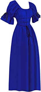Centory Womens Renaissance Medieval Costume Gypsy Long Sleeve Dress Top and Skirt Gothic Clothing Plus Size