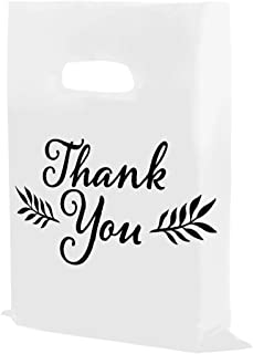 "Houseables Thank You Merchandise Bags, Retail Shopping Goodie Bag, Plastic, 16"" x 18"", 100 Pk, 1.75 Mil Thick, Low Density, Glossy, Black and White Color, with Handles, for Stores, Boutiques, Clothes"