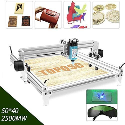 TOPQSC DIY Kits de grabador láser CNC 12V USB Máquina de grabado láser de escritorio, superficie de grabado 500X400mm, impresora láser de potencia ajustable,talla y corte madera (2500mw)