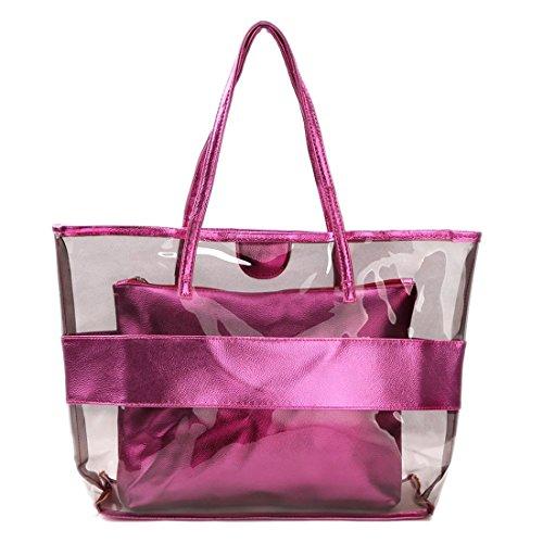 Mujer Bolsa de Mano - SODIAL(R) Impermeable Mitad Transparentes Bolsa de Mano, Bolso de Playa del PVC y Poliester con el Bolso Cosmetico Pequeno (Rosa roja)
