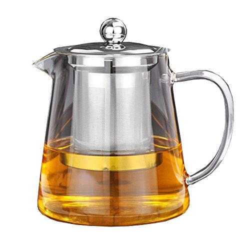 Obor - Teiera in vetro con infusore, per fiori e foglie sfuse, in borosilicato, bollitore da tè 450 ml.