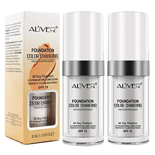 Makellose Farbwechsel Foundation Makeup Base Warme Hautfarbe Nude Face Moisturizing Liquid Cover Concealer Universal Shade für ALLE Haut Make-up (2PCS)