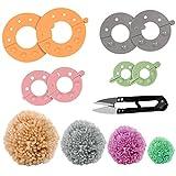 Curtzy Maquina de Hacer Pompones de Plástico (Pack de 4) con Cortahílos Maquina Hacer Pompones 4 Tamaños (3,5/5,5/7 y 9) Pompones Reutilizable - Bolas de Lana