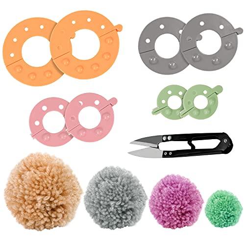 Curtzy Kunststoff Pompom Maker Set (4er Pack) mit Schneideschere - 4 Größen (3,5/5,5/7 & 9 cm) Puschel Basteln - Wiederverwendbare DIY Pom Pom Maker Fluff Ball Wolle für Kinder & Erwachsene