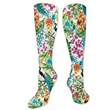 PPPPPRussell Novelty Socks Seamless Pattern Tropicale Con Pavoni E Fiori Novità Calze Per Donna,...