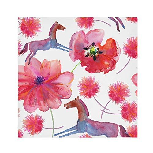 TropicalLife HaJie Servilletas de papel de poppy con diseño de animales de caballo, servilletas reutilizables de tela de poliéster satinado para mesa de niños, 50,8 x 50,8 cm, 1 unidad