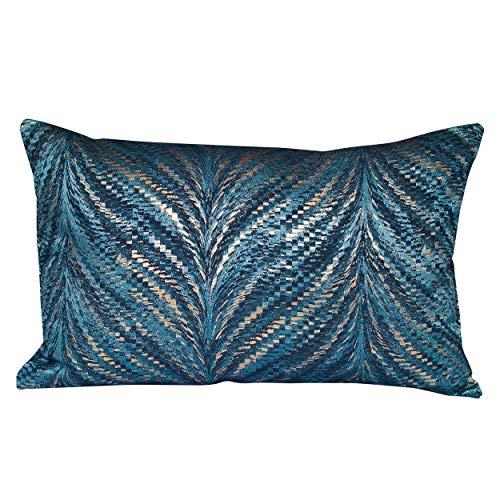 Linen Loft Funda de cojín rectangular de lujo de plumas metálicas XL en color azul turquesa con detalles reflectantes de cobre dorado, de doble cara, 23 x 15 pulgadas, inspirado en Art Déco.