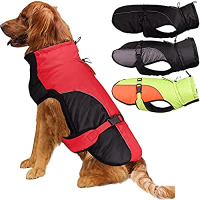 Etechydra Dog Coat Jacket for Large Dogs, Super Waterproof Winter Warm Dog Jacket Clothes Vest with Harness Hole, Reflective Dog Apparel with Adjustable Buckle, Red-Black, XL