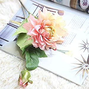 Artificial and Dried Flower 1Pc Silk Dahlia Home Party Homeroom Background Wall Wedding Decoration Artificial Flower for Wedding Party Decoration – ( Color: Pink )