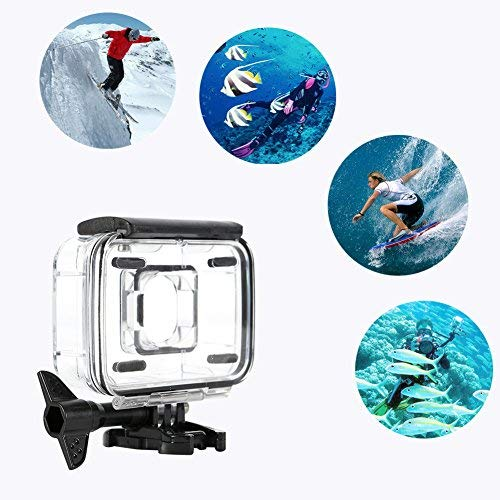 Pomya Underwater Action Camera Cage, Underwater 45m Waterproof Protective Housing Case Cover for Xiaomi Yi 2 4k Sports Camera(Black)