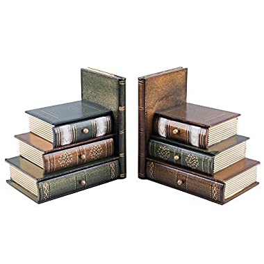 Fasmov Books Wood Bookend swith Desktop Organizer Drawer Units, Set of 2