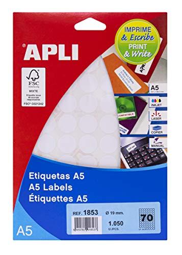APLI 1853 - Etiquetas A5 blancas Ø 19,0 mm 15 hojas