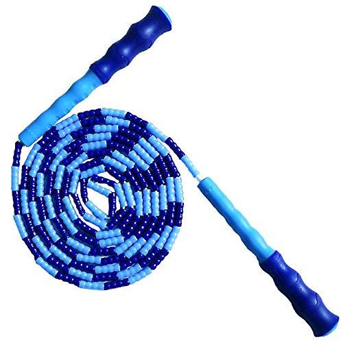 Andouy Springseil, Weiches Perlen-Springseil, Fitness Springseil für Kinder, Männer und Frauen, Verwicklungsfreies Sprungseil für Leichte Training, Boxen, Fitness(2.9M.Blau-1)
